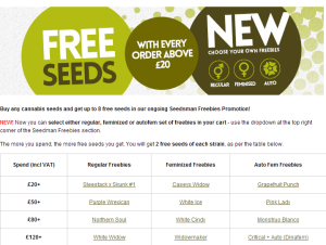 Free Cannabis Seeds From Seedsman With Every Purchase over £20